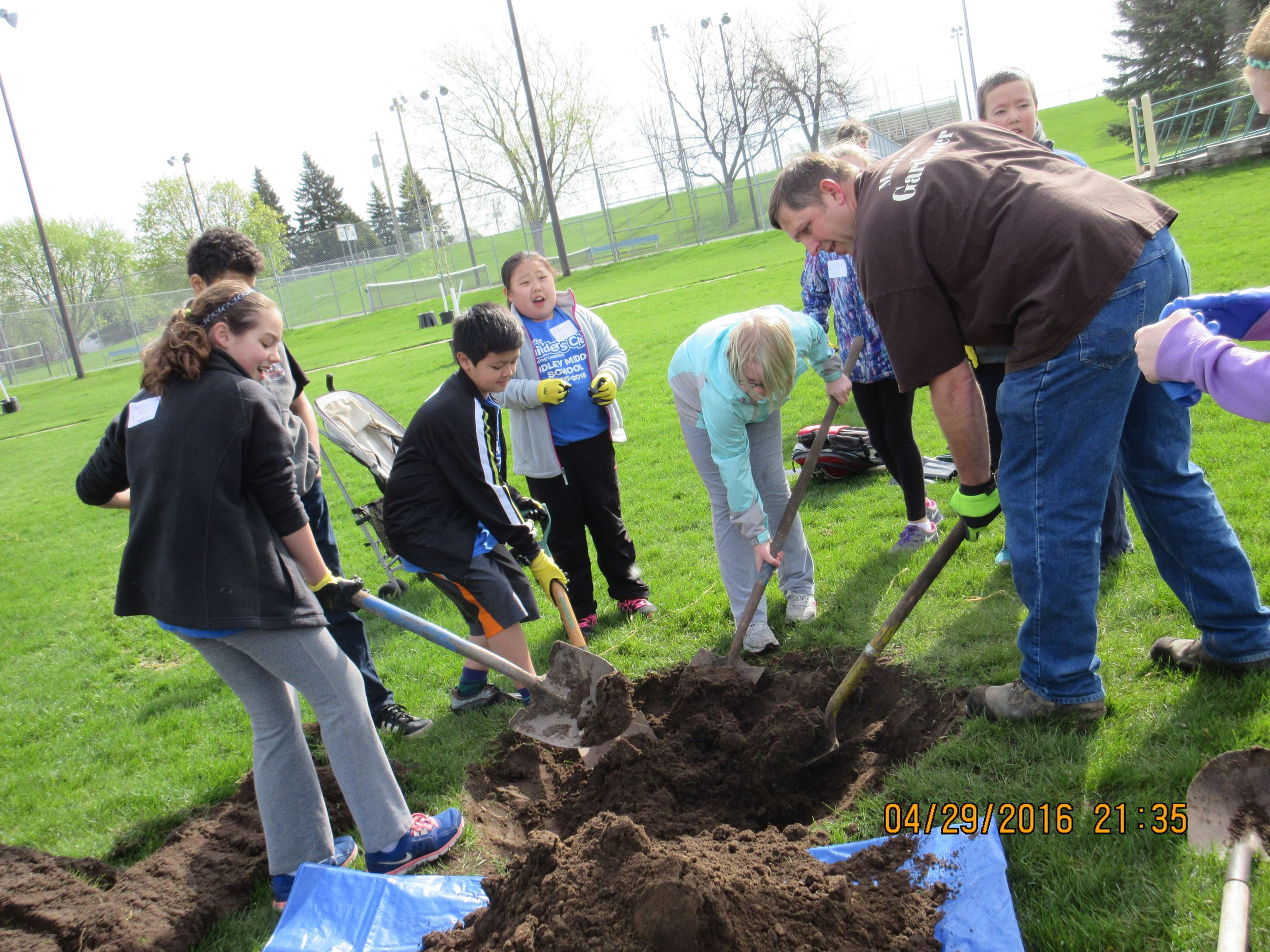 Students winterizing new trees at Commons Park