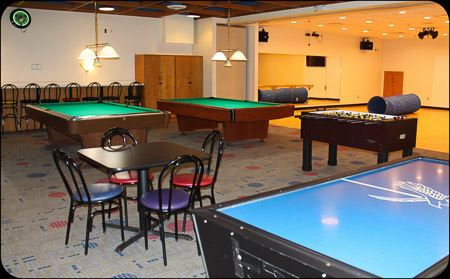 pool, air hockey and foosball tables