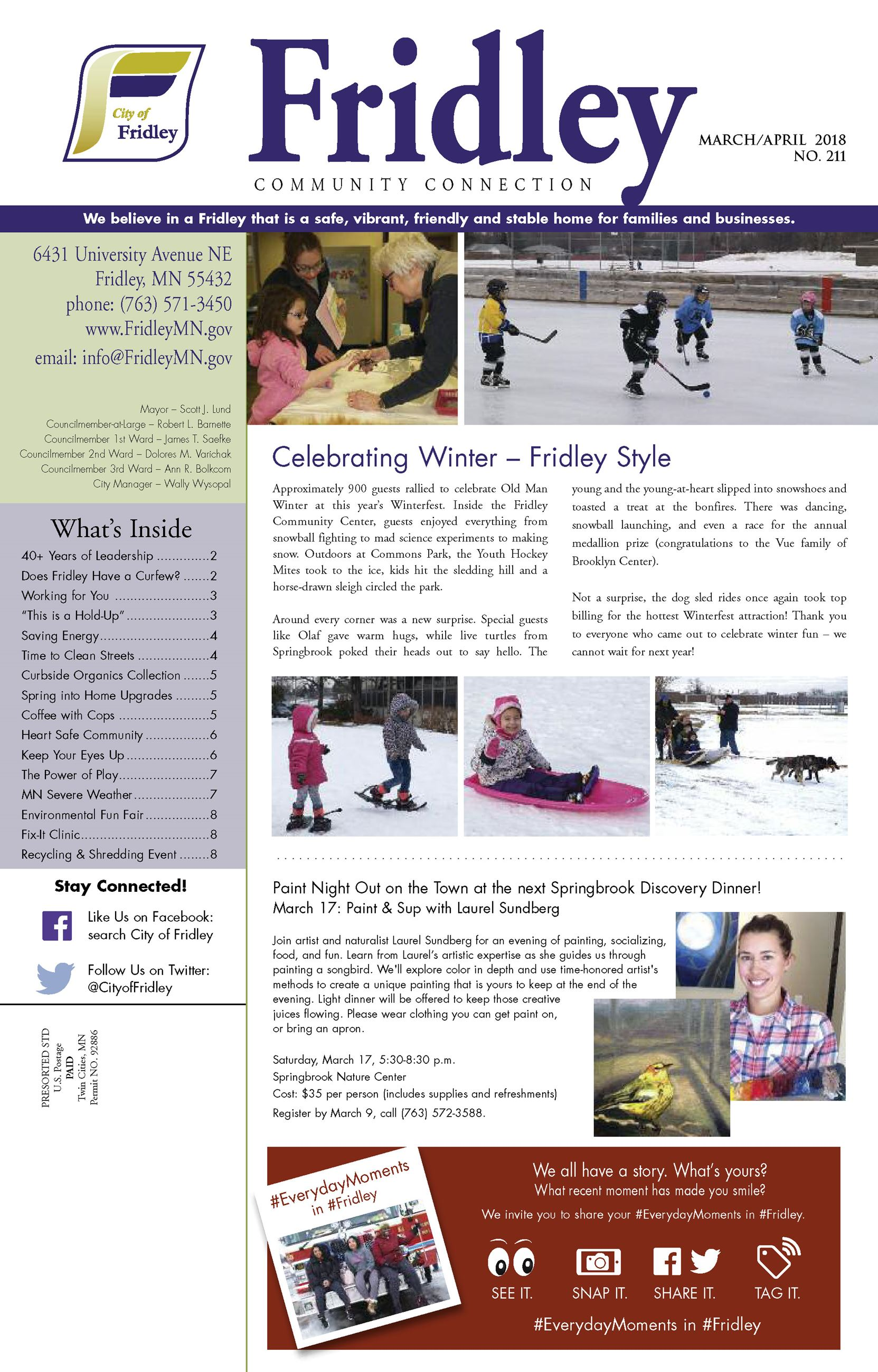 January 2018 newsletter front page