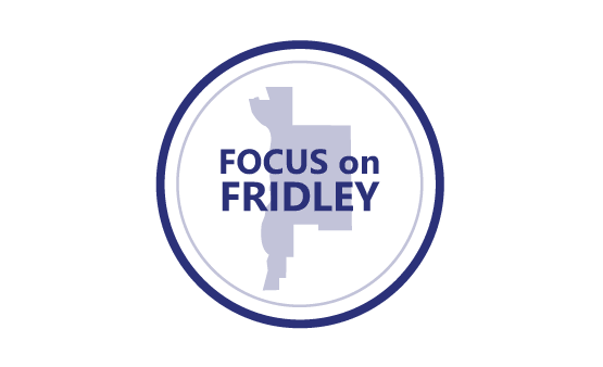 Focus on Fridley logo - text with overlay of Fridley outline